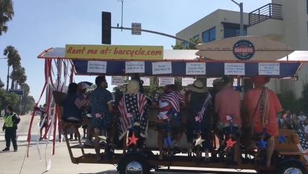 The barcycle is one of the fun vehicles in the Santa Monica Fourth of July Parade - Photo by Donna Balancia